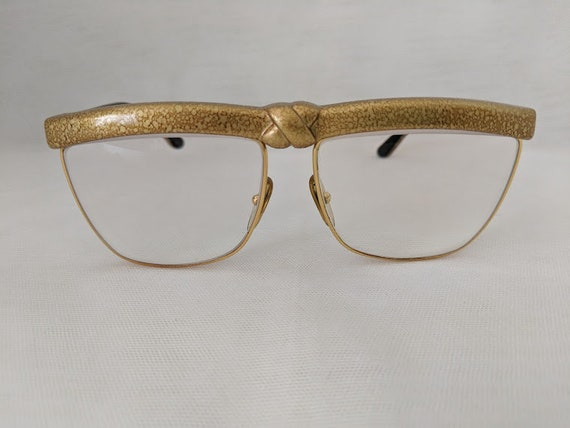 Vintage Laura Biagiotti Glasses. Gold Bow Plastic Vintage Laura Biagiotti Eye Glass Frames. Over Size Laura Biagiotti Vintage Glasses