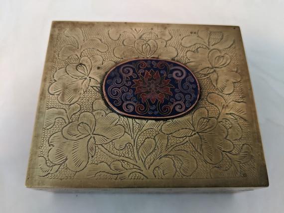 Antique Chinese Brass Trinket Box. Small Embossed Brass and Enamel Box. Circa 1900 . Brass Box, Enamel Ornament, Wood Lining