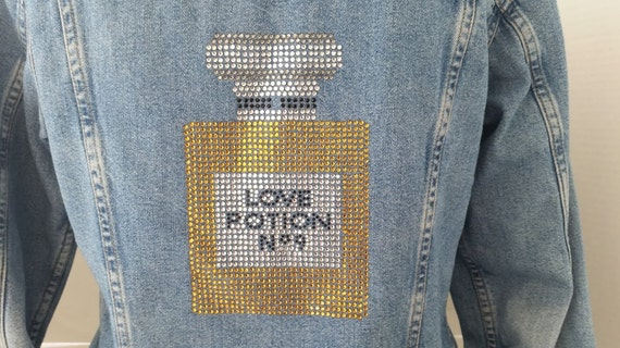 Vintage AT Denim Jacket with Love Potion No.9 Rhinestone Applique. Beautiful Rhinestone Applique on Blue Denim Short Jacket. Cute Statement!