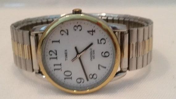 Vintage Timex Man's Watch. Two Tone Timex Indigo Vintage Wrist Watch. Vintage Retro Round Face Timex Watch. Man's Vintage Timex Watch.#1