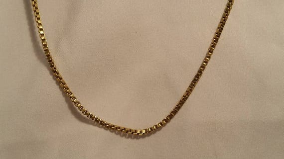 Vintage Artisan 10K Filled Box Link Chain.  18 Inch Gold box Link chain. Artisan Box Link Gold Chain.
