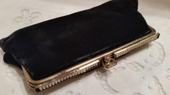 Antique Velvet Flapper Clutch. Antique Velvet Evening Out Essentials Clutch. Antique Clutch with Cigarette Lighter, Perfume ,Mirror and Comb