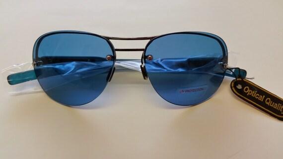 Vintage Aviator Blue Lenses, Semi-Rimless Aviator with Cool Blue Lenses. Hippie Style Aviator Sunnies. Retro Aviator Blue Lens Glasses