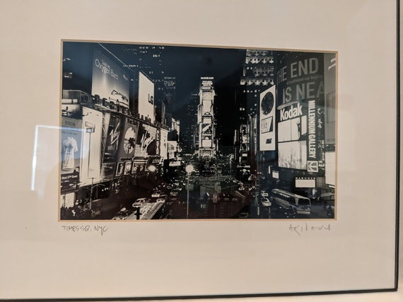 Black and White Print of Time Square in the 1980s. Black and White Photography of Time Square Manhattan. Time Square At Night  Wall Art.