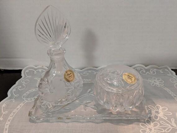 Vintage Princess House Crystal Vanity Set. Princess House Lead Crystal West Germany.  Crystal Tray, Perfume Bottle and Trinket Box Set.