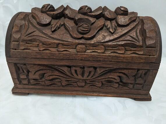 Antique Hand Carved Wood Dresser Box.  Floral Dimensional Floral Carved Domed Wood Box. Hand Carved Vintage Wood Footed Keepsake Box