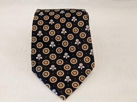Vintage Lanvin Paris Necktie. Silk Made in France Necktie. Black, White And Gold Necktie. Lanvin Floral Theme Black/Gold Necktie. Designer