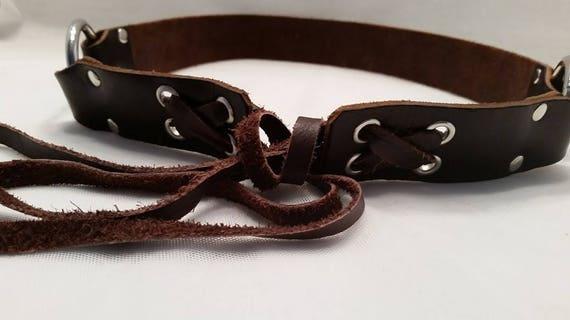 Leather, Tassels and Metal Hoops Belt. Cowhide Dark Brown Tassel Ties Belt. Boho Cowhide Leather Tassel Belt. Hippe Hip Leather Belt