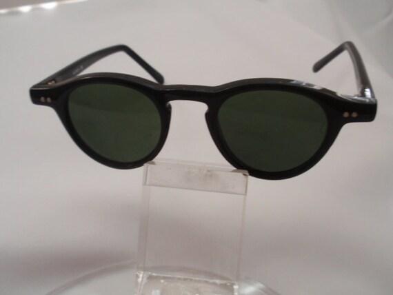 Vintage Small Round Plastic Horn Rimmed Black Sunglasses , Retro Small Round Black Sunglasses(NOW on SALE)