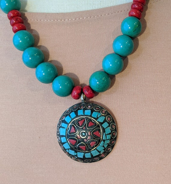 Tibetan Turquoise/Coral Silver Mosaic Pendant Necklace. Bohemian Round Tuquoise Beads and Coral Pendant Necklace. Beautiful Ornate Necklace