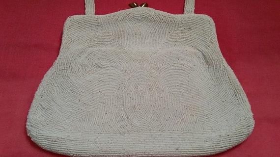 Vintage Walborg White Beaded Hand Bag Made in Belgium, Walborg Beaded Formal Bag, Glass seed beaded Evening Bag.