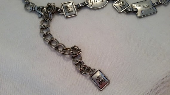 Hope, Faith, Happiness, Link Chain Distressed Silver Tone Belt. Silver Tone Chain Belt, Cute Silver Tone Faith Hope Happines sayings on Belt