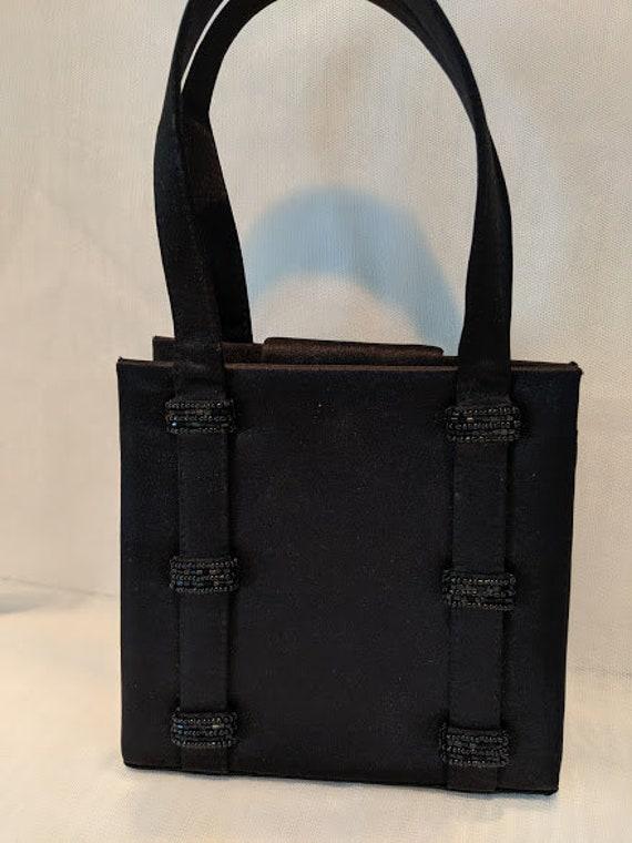 Vintage Carlo Fellini Formal Black Bag.  Carlo Fellini Small Satin Evening Bag.  Black Satin and Beads Formal Purse.  Top Handles Formal Bag