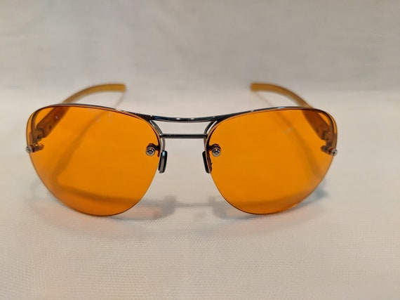 Vintage Aviator Orange Lenses, Semi-Rimless Aviator with Cool Orange Lenses. Hippie Style Aviator Sunnies. Retro Aviator Orange Lens