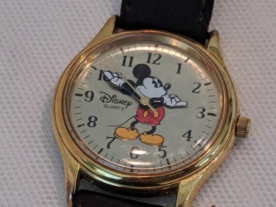 Vintage Mickey Mouse Watch. Disney Time Works Mickey Watch. Mickey Watch with Leather Band. Disney Quartz Mickey Watch.