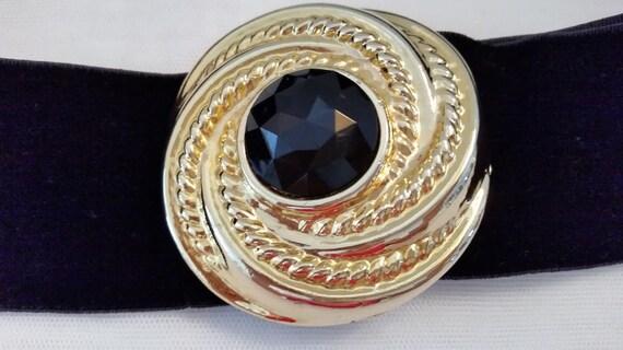 Vintage Motion East Elastic Stretch Belt. Black Stretch Belt with Adjustable Front Slide Buckle in Gold Tone and Jet Black Stone. Cute Belt
