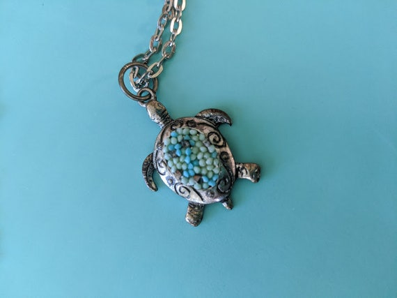 Turtle Necklage. Save the Turtles Silve Tone Necklace. Small Turtle Pendant Turquoise & Marcasite Stones with Silver Tone Chain.