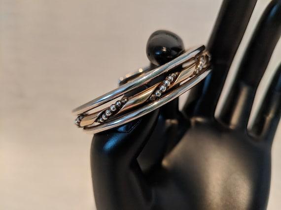 Vintage Silver Cuff Bracelet. Unisex Sterling Silver and Gold Brass Cuff Bracelet.