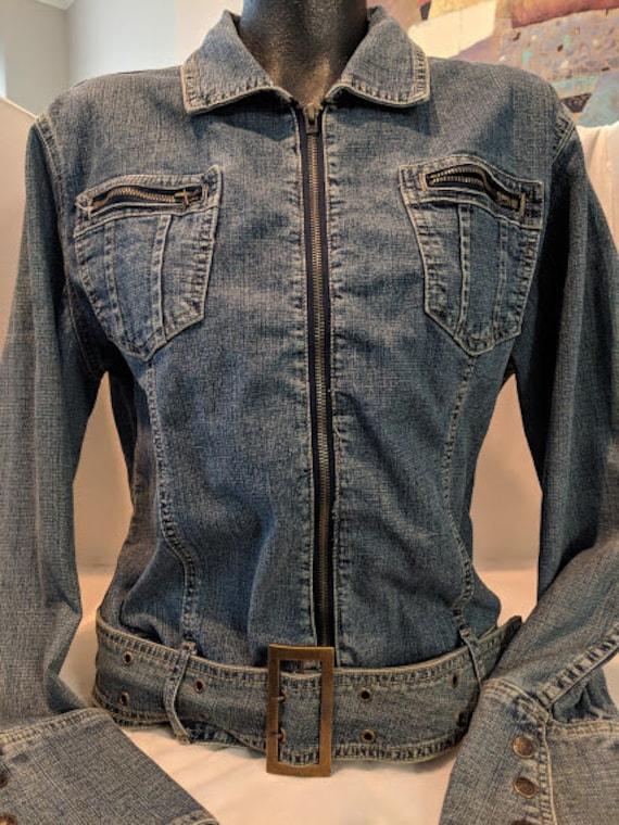 Vintage Bell Sleeve Denim Jacket. Blue Orange Women's Jean Jacket. Denim Belt Waist Denim Jacket. Boho Denim Jacket.