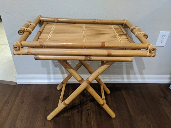 Vintage Bamboo Folding End Table. Bamboo Collapsible Side Table. Tan Bamboo Tray Table. Mint Condition Bamboo Folding Table SALE SALE SALE