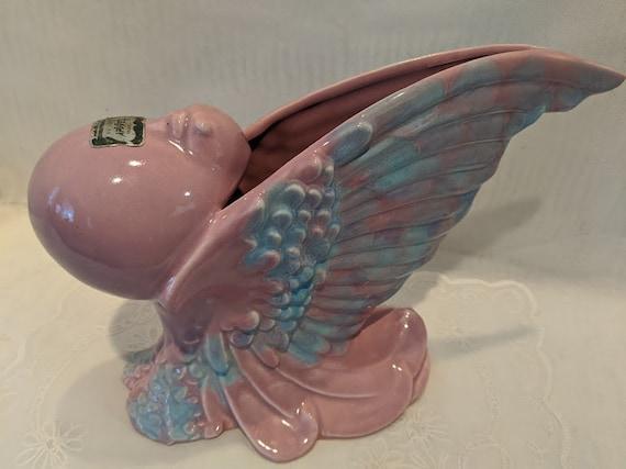 Vintage Royal Heager Pouter Pigeon Vase.  Heager Pink/Blue Glazed Ceramic  Art Deco Dove Vase. Mid Century Heager Pouter Pigeon Pink/Blue