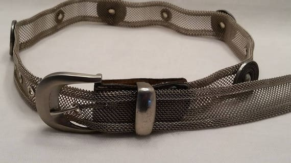 Vintage Metal Mesh Belt. Woman's Pewter Color Mesh Metal Belt. Silver Medallion studs Mesh Belt. Cute Boho/Hippie Belt SALSE SALE