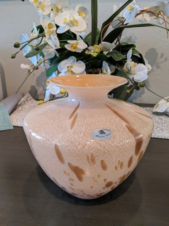 Vintage Azzurra Hand Blown Vase. Maestri Vetrai Mouth Blown Italian Art Glass. Cream and Gold Sparkle Hand Blown Murano Style Large Vase.