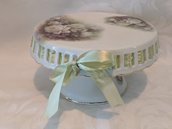 Vintage Porcelain Treasures Hand Decorated by Betty Platner Pedestal Cake Stand.  Small Ceramic Pedestal Cake Stand Signed Betty Platner