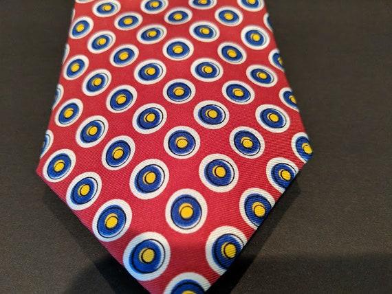 Vintage Authentic Ralph Lauren Tie.  Ralph Lauren Red Ties With Navy Circles. Ralph Lauren 100% Silk Neck Tie. Red Silk Neck Tie.
