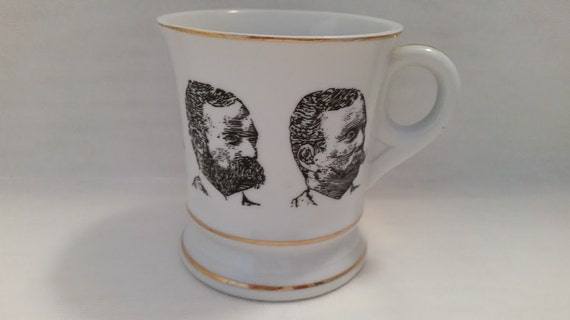 Vintage Men with Mustaches and Beards White Porcelain Mug.  Mustache Mugs