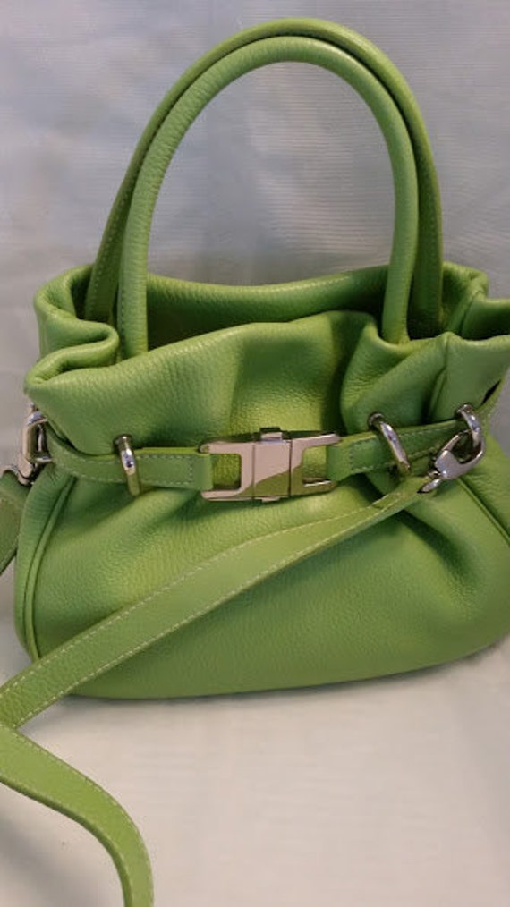 Buti Italian Leather Handbag. Bright Green Pebbled Leather Bucket Bag. Double Strap Apple Green Bucket Authentic Leather Bag. NOW ON SALE