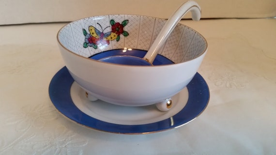 Noritake M Hand Painted Condiment Bowl, Ladle and Plate. Porcelain 1930's Footed Condiment Bowl, Ladle and plate, made In Japan.(SALE SALE)