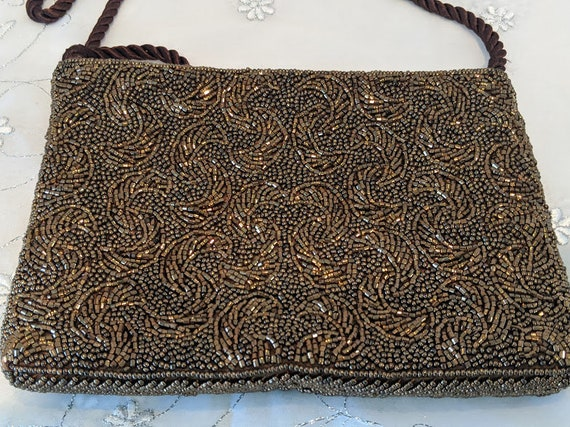 Vintage Bronze/Copper Glass Seed Beads Formal Clutch.  Bronze Seed Beads Evening Shoulder Bag. Cocktail/Evening Beed Seed Purse.