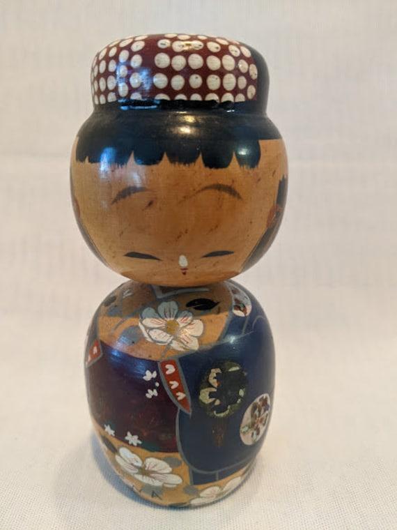 Antique Japanese Bobble Head Figurine.  Wood Kokechi Doll.  Hand Painted Japanese Koche doll.