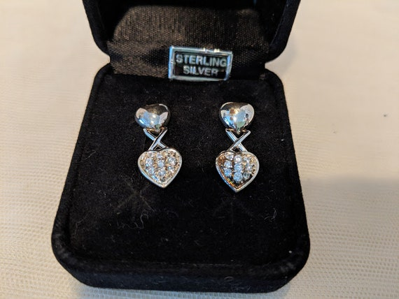 Vintage Sterling Silver Double Heart Pierced Post Earrings.  Sterling Silver & CZ Stones Heart Earrings. Two Piece Dangling Heart Earrings.