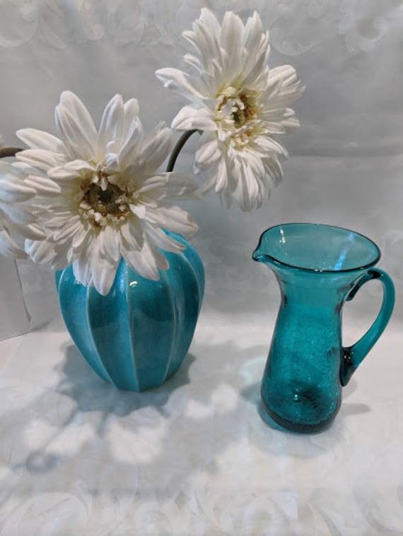 Mid Century Vintage Turquoise Blue Blenko Pitcher.  Blenko Crackle Glass Hand Blown Teal Blue Pitcher. Blenko Crackle Glass Spouted Pitcher