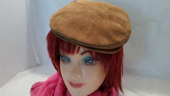 Vintage L.L. Bean Leather Cap. Tan Suede Cabbie Cap.  Leather/Suede Newsboy Cap. (SALE SALE SALE)