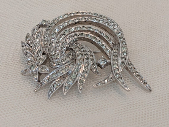 Vintage Polcini Clear Rhinestone Brooch. Polcini Rhinestone Swirl and Flowers Brooch. Glamorous Polcini Rhinestone Pin. Art Deco Brooch