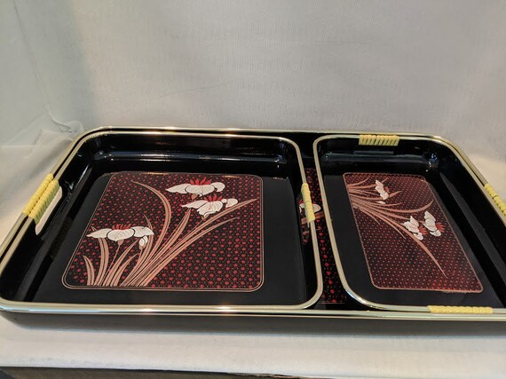 Vintage Japanese Lacquer Nesting Tray Set of Three.  Black Lacquer Lotus Flower Serving Tray Set. Black Laquer Japanese Suchi Serving Trays