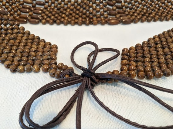 Vintage Wood Beaded Boho Belt.  Front Tie Up Wood Beaded Belt. Cool Wood Boho/ Hippie Wood Beads Front Tie Up Belt