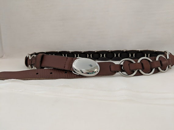 Vintage Chico Brown Leather Belt. Weaved Leather Round Silver Tone Rings Women's Belt. Chico Fashion Leather Belt. Boho Leather Women's Belt