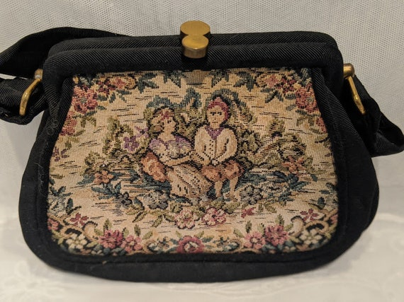 Vintage Tapestry Formal Bag. Needle Point Evening Purse. Black Silk Tapestry Lovers in Flowers Purse. Black Needle Point Flowers Handbag