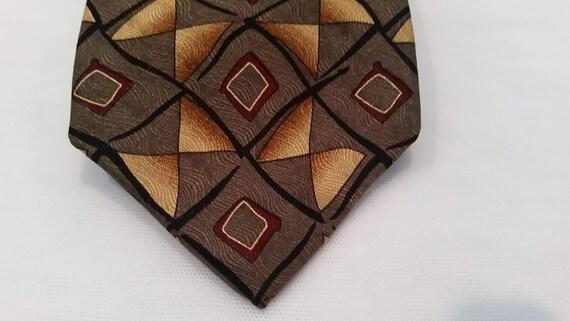 Vintage Ziggurat Silk Neck Tie.  Mulberry Neck Wear. Designer Silk Tie.