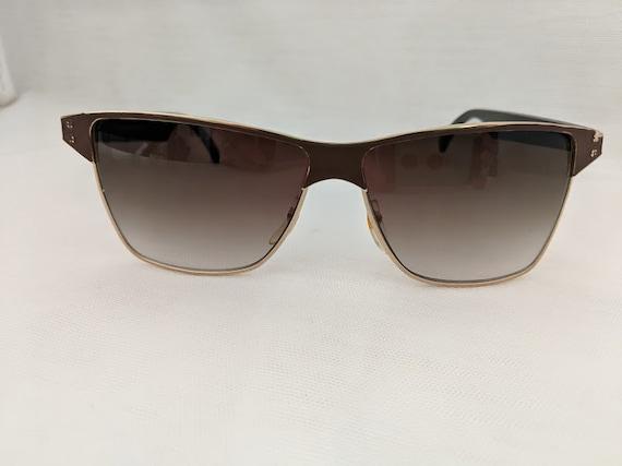 Vintage Police Inspired Sunglasses Gold Metal. Cool Large Hip Hop Shades. Vintage Large Brown /Gold Sunglasses. Large Gold Shades. DragonFly