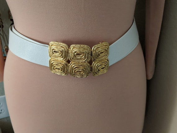 Vintage Gay Boyer White Leather Belt. Gold Ornate Buckle Belt.  Like New White Belt with Gold Ornate Buckle.