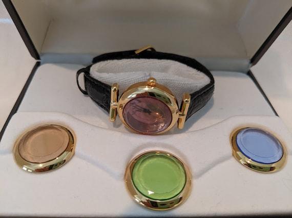 Vintage Women's Armitron Now Wrist Watch. Armitron Now Interchangeable Four Color Crystal Bezel. Cute Armitron Watch with Leather Band