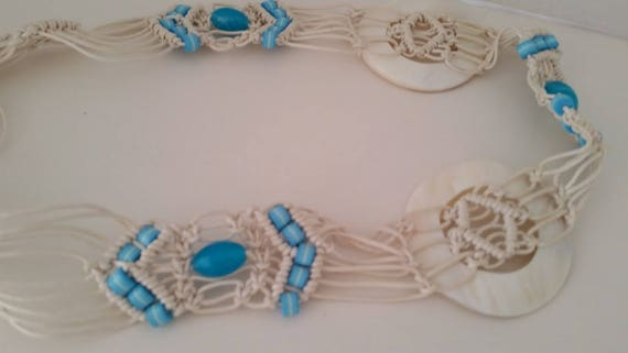 White Macrame Belt with Blue Beads.  Macrame Belt with Beads and Mother of Pearl.  White Macreme Belt with Tassels. Summer Tie Macrame Belt