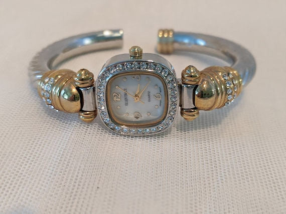 Vintage Ellen Tracy Cuff Bangle Watch. Crystal Bezel Bangle Watch. Crystal Adorned Two Tone Womens Wrist Watch. Dressy Bracelet Watch