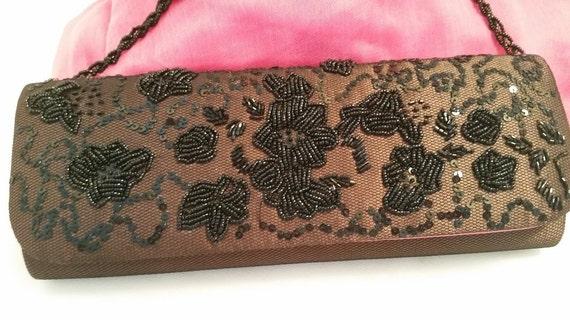 Vintage NiNa Formal Clutch. Brown evening bag. Lace and beads Formal Bag (SALE)
