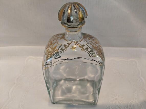 Vintage Jerez Spain Liquor Bottle. Hand Painted Gold Brandy Bottle. Jerez Decorated Bottle